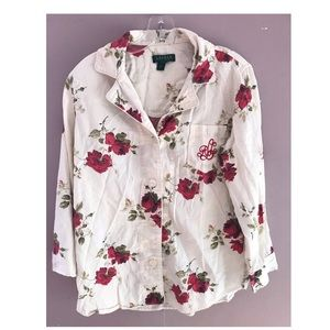 Lauren Ralph Lauren long sleeve rose shirt Sz. L